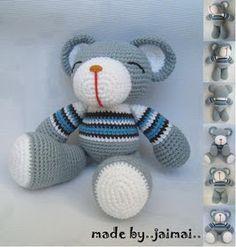 Amigurumi Häkelanleitungen von K and J Dolls: Grey Bear Amigurumi Häkelanleitung