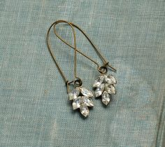 Rhinestone LEAF Earrings Romantic Bridal Estate by redtruckdesigns, $27.95