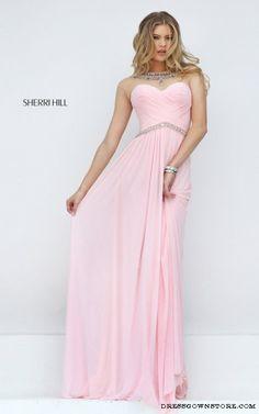 A Line Sherri Hill 50442 Pink Prom Dress