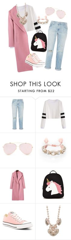 """""""Blushing in denim"""" by felisafayeboutique on Polyvore featuring Current/Elliott, Chloe + Isabel, Forever 21 and Converse"""