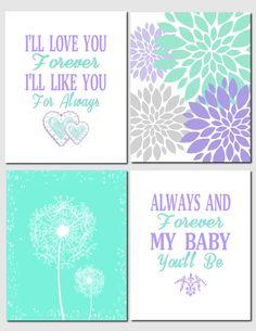 Mint Lilac Wall Art for Nursery Kids Wall Art I'll by vtdesigns