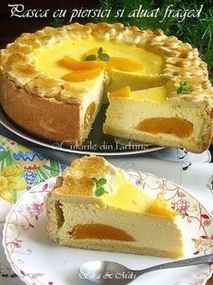 » Pasca cu piersici si aluat fragedCulorile din Farfurie No Cook Desserts, Dessert Recipes, Sweet Cakes, Bread Baking, Cheesecakes, Food And Drink, Cooking Recipes, Yummy Food, Sweets