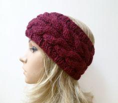 Chunky Wool Cabled Headband, Burgundy 100% Wool Hand Knitted Ear Warmer, Women…
