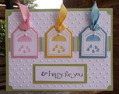 Baby mobile card - Punch Bunch - stampin up sale-a-bration 2011 use tag concept for something other than baby card Tarjetas Diy, New Baby Cards, Embossed Cards, Baby Shower Cards, Baby Kind, Kids Cards, Cool Cards, Creative Cards, Greeting Cards Handmade
