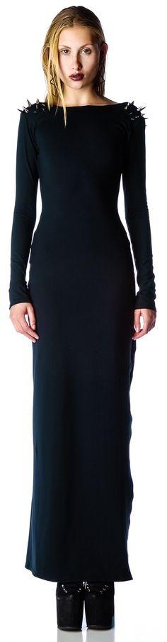 black_wednesday_shoulder_spiked_maxi_dress_sample_