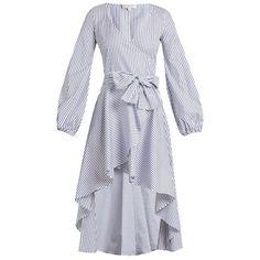 Caroline Constas Lena asymmetric-hem cotton wrap dress (€405) ❤ liked on Polyvore featuring dresses, blue stripe, blue striped dress, striped cotton dress, plunge dresses, v-neck dresses and wrap tie dress