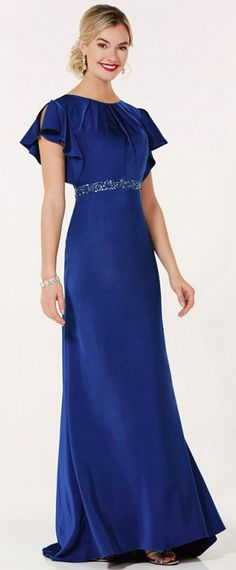 Chic Acetate Satin Scoop Neckline Full Length Sheath/Column Mother Of The Bride Dresses With Beadings