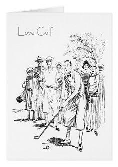 'Love Golf', Vintage 1929 Card.  One for the golfer. Standard white envelopes included. Vintage Twenties illustration https://www.zazzle.com/love_golf_vintage_1929_card-137236549991637268 #golf #cards #vintage #twenties #1920s