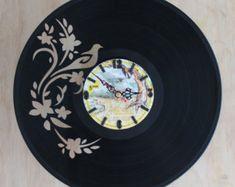 Handcarved aves y flores vinilo Registro reloj, reloj de registro, vinilo arte reloj, reloj de pared de vinilo, reloj de pared record, reloj de discos de vinilo