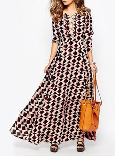Chic V-Neck Long Sleeve Geometrical Print Color Block Dress For WomenPrint Dresses | RoseGal.com