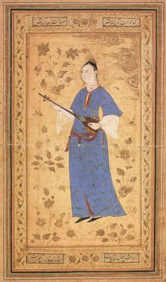 PERSIAN: Woman with a Lute Iran, Isfahan, circa 1600-1610 (Lovely detail)