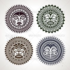 Vectors - Polynesian Tattoo Styled Masks   GraphicRiver