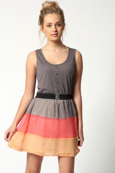 Cheryl Skater Dress with Striped Skirt