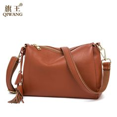 52997f596fd7 Qiwang Soft COW Leather Bag Luxury 2017 Hot Fashion Women Brown Handbags 3  layers Genuine Leather Female Bag Made in China
