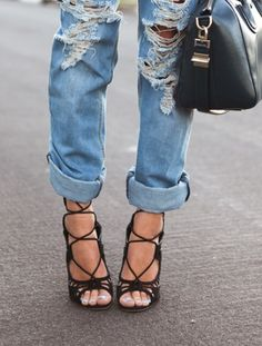jeans + sandals.  LOVE!!!!