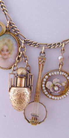 Antique Gold with 7 Charms Enamel Portrait Pansy Perfume and Seed Pearls NECKLACE ..