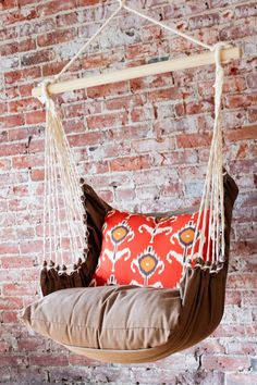 Relax in style in this comfy indoor/outdoor hammock swing chair. Includes an orange & brown Ikat print back pillow, brown seat pillow and brown. Outdoor Hammock Chair, Diy Hammock, Hammocks, Hammock Ideas, Hammock Stand, Camping Hammock, Diy Camping, Outdoor Lounge, Room Hammock