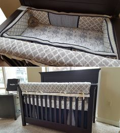 Shimmery grey crib bedding set by pine creek bedding with a world world map crib bedding with stone grey geometric fabric and navy trims on display at the babys room in rogers ar bedding made in oregon by pine creek gumiabroncs Choice Image