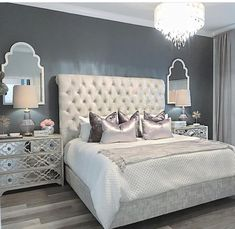 25 Exquisitely Admirable Modern French Bedroom Ideas To Steal. Check out these fascinating modern French bedroom ideas to bring the style of your home to a whole new level! Glam Bedroom, Cozy Bedroom, Bedroom Inspo, Home Decor Bedroom, Bedroom Furniture, Bedroom Ideas, Grey Furniture, Bedroom Designs, Furniture Design