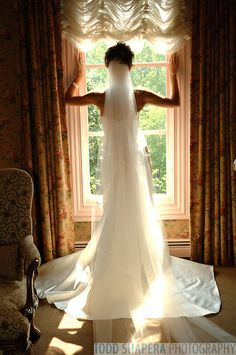 Bride looks out window prior to her ceremony. View of her dress frm behind. Picture Ideas, Photo Ideas, Window Photography, Looking Out The Window, Window View, Bride Look, Beautiful Bride, Wedding Pictures, Wedding Ceremony