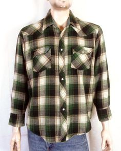 f4a981cca7 vtg 70s JC Penney Green Plaid Heavy Flannel Western Shirt Jacket sz XL