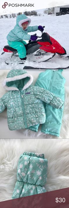 Carter's Snow Suit Set Super cute snowflake coat and matching snow pants. Great for skiing, snowboarding, snow sports or just play. My little one only got cold on her nose wearing this in a Utah winter. Great condition! Attached hood with faux fur trim. Elastic at wrist and ankle to keep the snow out. Cozy fleece lining in part of coat. Easy on off for both pieces. Mint/Teal color. Carter's Jackets & Coats Puffers