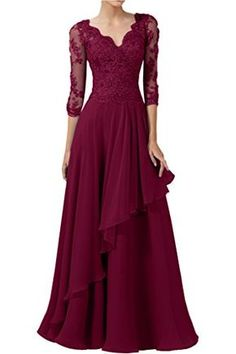 DINGZAN 2018 Wedding Guest Mother Of The Bride Dresses With Half Sleeves Long Prom Gowns 10 Wine -- Read more at the image link-affiliate link. Mother Of Groom Dresses, Mothers Dresses, Mob Dresses, Fashion Dresses, Bride Dresses, Formal Dresses, Wedding Dresses, Bridesmaid Dress Colors, Lace Bridesmaids