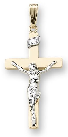 14k yellow gold large solid crucifix, 20 inch chain included.