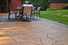 Stamped concrete patio completed by G-Cat Construction Company. Orchard stone texture with heavy stone border. Stamped Concrete, Concrete Stamping, Decorative Concrete, Diy Outdoor Kitchen, Outdoor Decor, Cat Construction, Patio Installation, Concrete Contractor, Stone Texture