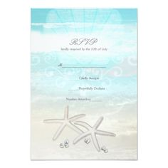 #wedding #responsecards - #Beach White Starfish Elegant Summer RSVP Card