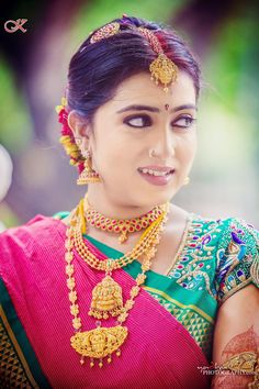 South indian bride gold indian bridal jewelry temple jewelry jhumkis