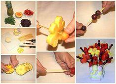 10 Creative DIY Fruit Art --> Fruit Flower Bouquet