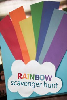 A rainbow scavenger hunt with a free printable of clues to find the colors of the rainbow! Makes a fun rainbow craft to display too! Make a rainbow and celebrate the approach of spring (or St. Patrick's Day) with a colorful scavenger hunt! Trolls Birthday Party, Troll Party, Birthday Games, Unicorn Birthday Parties, Birthday Ideas, Rainbow Unicorn Party, Rainbow Birthday Party, Rainbow Theme, Colors Of The Rainbow