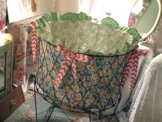 RESERVED for Jenny - French Laundry Cart Basket Hamper Liner - Shabby Prairie Cottage Chic. $82.00, via Etsy. SOOOO CUTE!