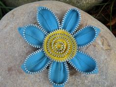 Blue and Yellow Vintage Zipper Flower Brooch Pin/Hair Clip