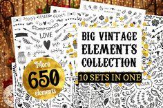 Big Vintage Bundle! 650 elements by Qilli on @creativemarket