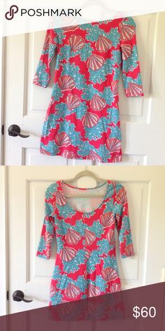 Lilly Pulitzer Dress ⭐️Reduced Price⭐️ Great Condition Lilly Pulitzer Topanga Shell Dress Size XS 3/4 Sleeve Lilly Pulitzer Dresses Mini