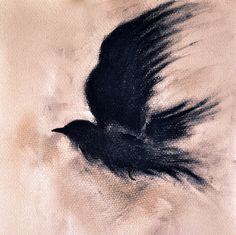 Original Charcoal Drawing Flying Raven Blackbird von AbstractArtM