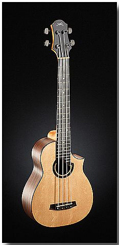 very cool kala mini bass guitar with rubbery strings.