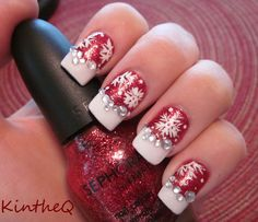 """""""Merry Christmas 2012"""" - Sephora by OPI """"Merry Me'"""" with hand painted snowflakes and crystals from Born Pretty. #nails #nailart"""