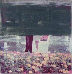 SAHIN CELIKTEN O.T. (ÜBERMALUNG V) übermalte Fotografie - Öl auf Aluplatte 8,5 x 8,5 cm