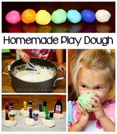Play Dough Recipe with printable, I mostly just love the look on this little girls face! eating play dough like a boss