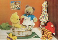 Vintage Postcard 70s bear takes a bath
