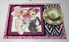 Quilted Mug Rug   Tea for Two Ladies  Candle Mat  by PattiesPieces, $9.50 Love the use of a bigger piece for the mug rug!!