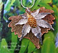 Real Leaf Jewelry, Custom Design Cottonwood, Japanese Maple, Pine Cone leaves necklace. $29.95, via Etsy.