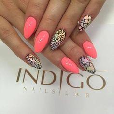 by Indigo Educator Magdalena Żuk :) Follow us on Pinterest. Find more inspiration at www.indigo-nails.com #nailart #nails #indigo #pink #hearts