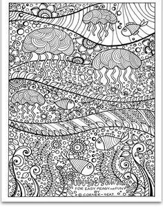Realistic Jellyfish Free Printable Coloring Page For Adults Free