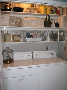 Good Idea - Add Shelving with wallpaper backing to laundry pantry