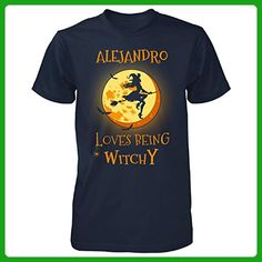 Alejandro Loves Being Witchy. Halloween Gift - Unisex Tshirt Navy 4XL - Holiday and seasonal shirts (*Amazon Partner-Link)