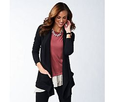 LOGO Lounge by Lori Goldstein French Terry Cardigan with Pockets — QVC.com